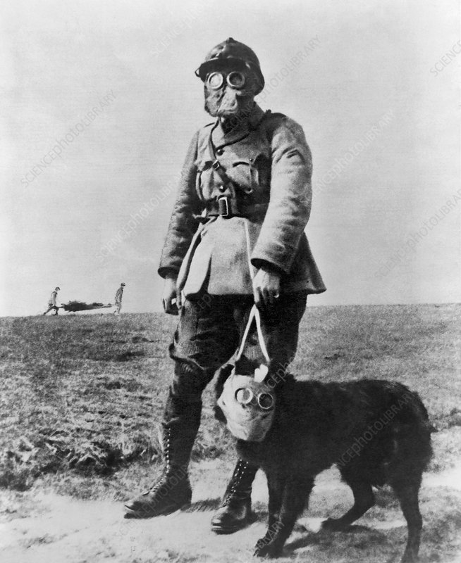 First World War Gas Mask. Caption: Gas masks in WWI
