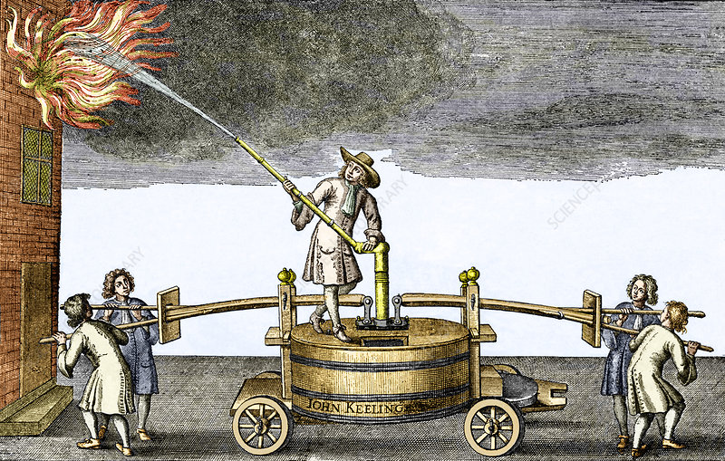 Early firefighting equipment, 1678