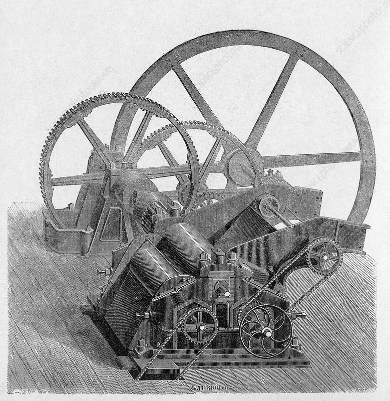 Sugar cane mill mechanism, 1880