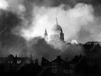 WWII air raid fire, St Paul's, 1940