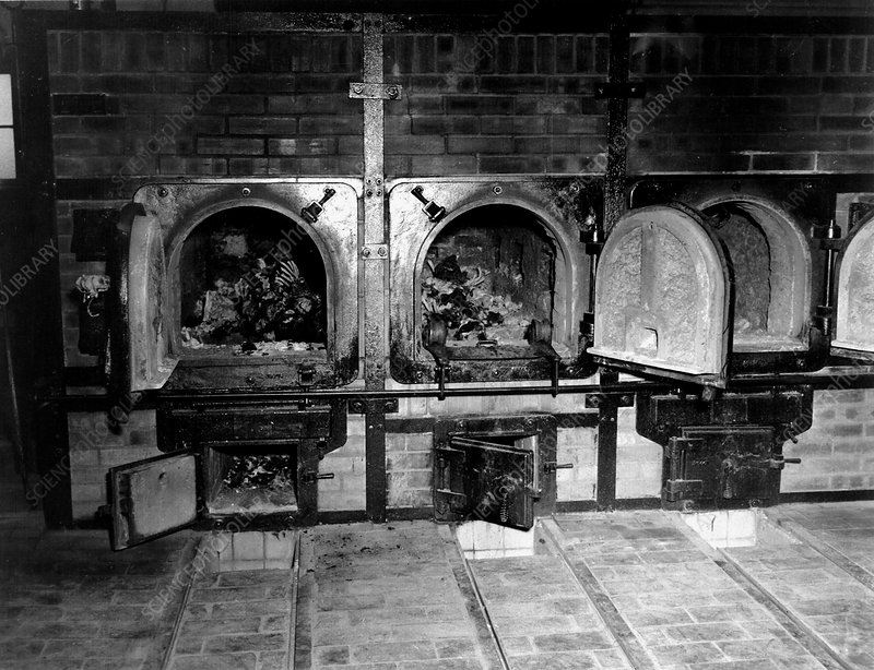 WWII Nazi death camp crematorium, 1945