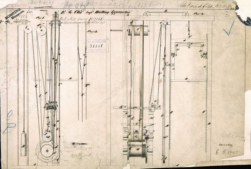 Otis's safety elevator patent, 1861