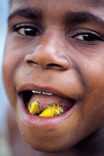 Indonesian boy eating roasted stink bugs