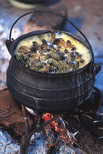 Mopane worms cooking in a pot