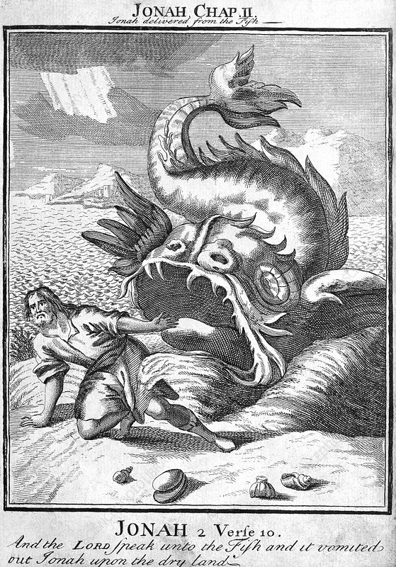 Engraving of Jonah being disgorged by a whale