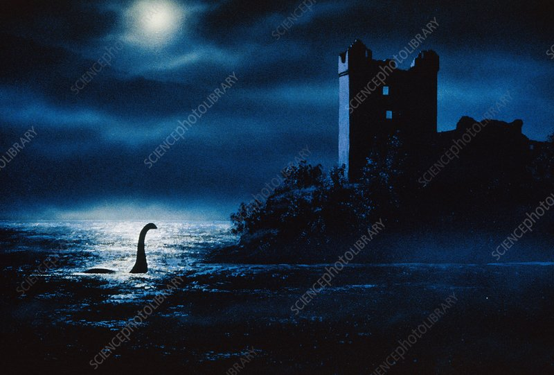Artwork of Loch Ness Monster at night near castle
