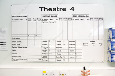 Operating theatre whiteboard - Stock Image - M554/0463 - Science Photo  Library