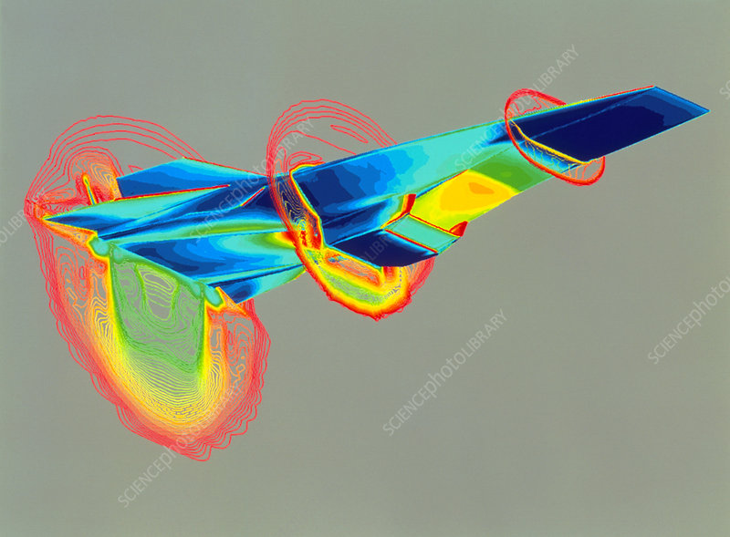 CAD graphic of the Hyper-X aircraft in flight - Stock Image